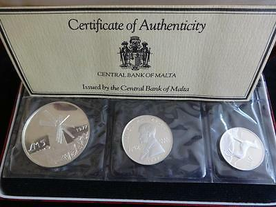 1977 Malta Silver Proof 3 Coin Year Set Box + Coa Lm 5 Lm2 & Lm1 Windmill Dog