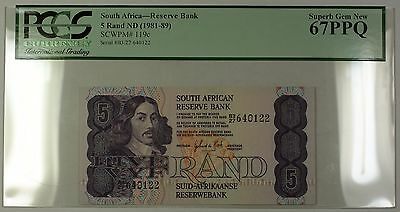 (1981-89) No Date South Africa 5 Rand Bank Note SCWPM# 119c PCGS GEM 67 PPQ