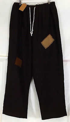 Brown Renaissance Patched Medieval Wool-look Peasant Trousers Size L 36-38W LARP