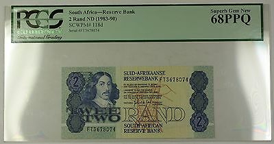 (1983-90) No Date South Africa 2 Rand Bank Note SCWPM# 118d PCGS GEM 68 PPQ