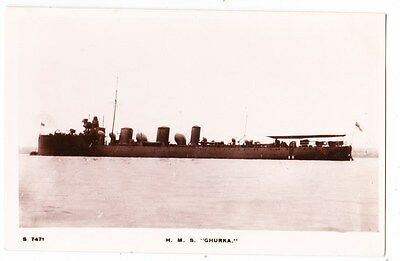 Early Post Card, Ships, H M S  Ghurka,  RP