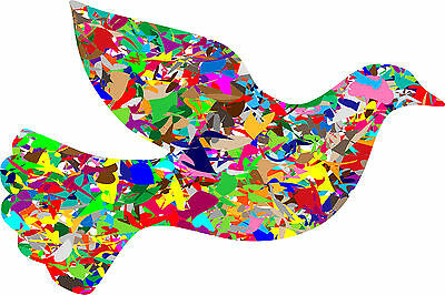 Dove Bird Of Peace Colourful Abstract WALL ART CANVAS FRAMED OR POSTER PRINT