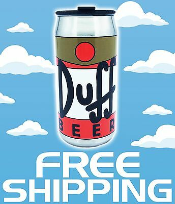 NEW The Simpsons Duff Beer Homer Universal Studios Aluminum Can Cup w/ Lid 16OZ