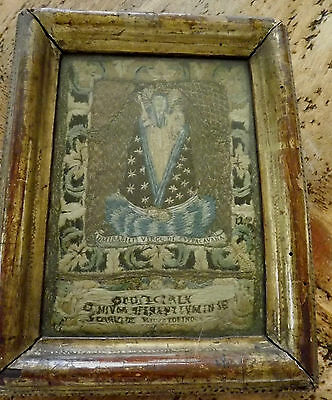 Antique Religious Sampler Embroidery Needlework Picture