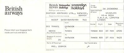 British Airways Sovereign Holidays Old Used Airline Ticket