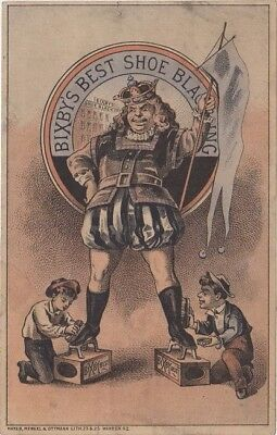 "Bixby's Best Shoe Black"" Victorian Trade Card, 1880s approx 3 1/8"" X 4 7/8"""