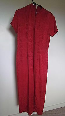 Red Silk Dress -Classic Chinese Cheongsom Style-long-