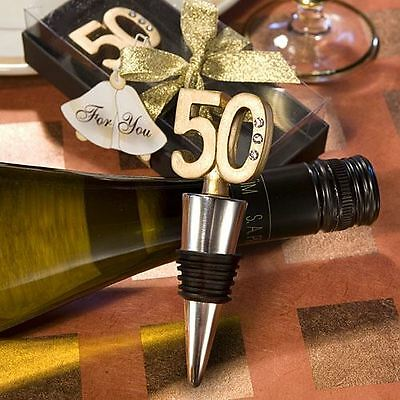 Set of 6 50th Anniversary Wine/Champagne Bottle Stopper Wedding & Party Favours