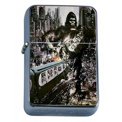 Vintage Poster D87 Windproof Dual Torch Lighter King Kong Attacking City Train