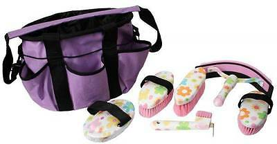 6 Piece FLOWER DESIGN Horse Grooming Kit w/ Nylon Carrying Bag! HORSE TACK!