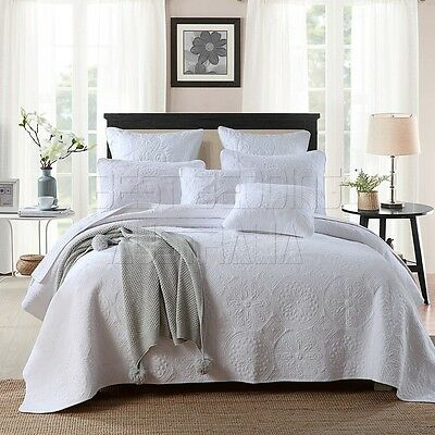 100% Cotton Coverlet / Bedspread Set King / Super King Size Bed 250x270cm Circle