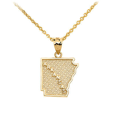 10k Yellow Gold Oregon State Map United States Pendant Necklace