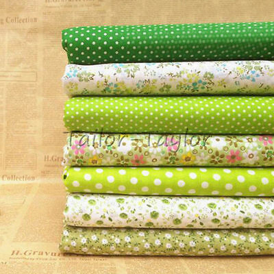 7pcs/Set Green Floral Patchwork Quilting Sewing Cloths Cotton Fabric Craft