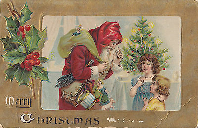 Hooded Santa Claus delivers Toys to Children by CHRISTMAS Tree 1907-15 Postcard