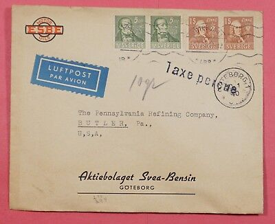 1940 Sweden Airmail Cover Motor Oils Advertising Goteborg Postage Due To Usa