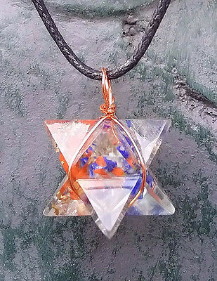 Orgone Chakra Crystal Merkaba Copper Star Pendant ,with Chain,, Sacred Geometry