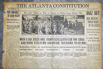 1911 Atlanta Newspaper Front Page - Georgia Militia Protects Negro From Lynching