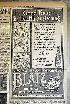 Rare 1911 Portland Newspaper Ad - Blatz Beer Distributed by Rothschild Brothers