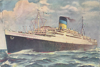 Greek Line T.S.S. NEW YORK 1939-59 Advertising Art Postcard Paquebot Posted