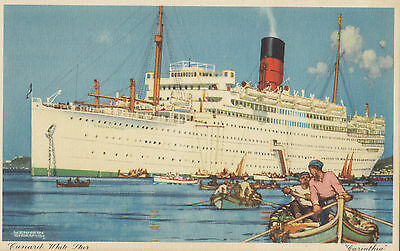 Cunard Lines R.M.S. CARINTHIA Advertising Art Postcard Signed Kenneth Shoesmith