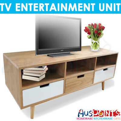 TV Stand Entertainment Unit Cabinet Storage Drawers Table  3 Compartment