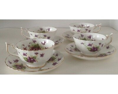 Set of 4 Royal Chelsea Spring Violets Cups and Saucers