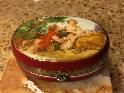 Porcelain Red Pictorial Hinged Trinket Jar/Oval Box