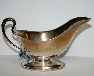 Vintage Silverplate Silver Plate Gravy Dressing Boat Tableware With Blue Bow
