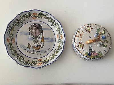 HENRIOT Quimper Gorgeous Plate And Tap Very Rare 1920 C
