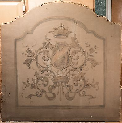 Antique Victorian Fire Screen with Needlepoint and Hand Painted Panel, 32.5 x 33