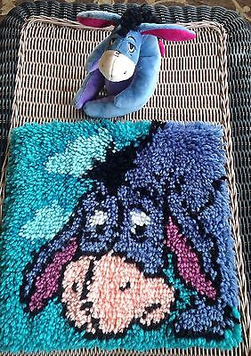 Finished Eeyore Disney Latch Hook Pillow Front Only + Disney Eeyore Plush Toy