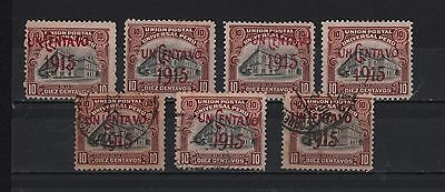 Peru 1915 Upu 1 Cent Surcharged Over 10 Cents Displacements 4 Mint 3 Used S# 193