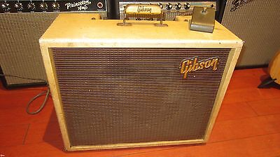 Vintage Orig 1960 Gibson GA-8T Electric Guitar Amplifier White Tolex w/ Tremolo