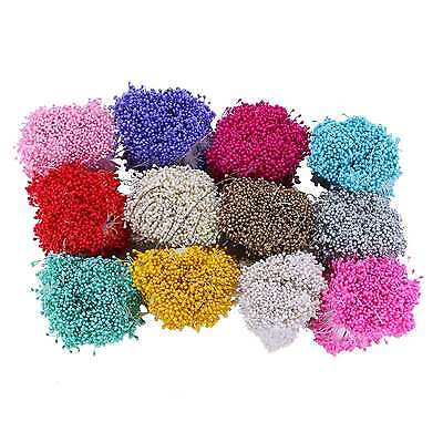 1600pcs Artificial Flower Stamen Double Tip Pearlized Wired Pearl Craft Decor