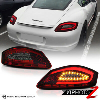 "2005-2008 Porsche 987 Boxster Cayman S ""FiBeR OpTiC"" Red Smoke LED Tail Lights"