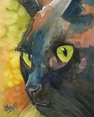 Black Cat Art Print Signed by Artist Ron Krajewski 8x10