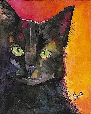 Black Cat Black Cat Art Print Signed by Artist Ron Krajewski 8x10