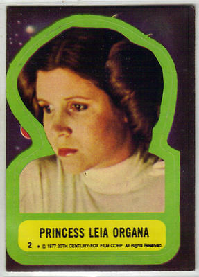 Princess Leia Organa Sticker Card 1977 #2 Star Wars Topps Carrie Fisher