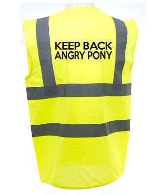Keep Back Angry Pony Horse Riding Hi-Vis Safety Equestrian. High Viz Waistcoat