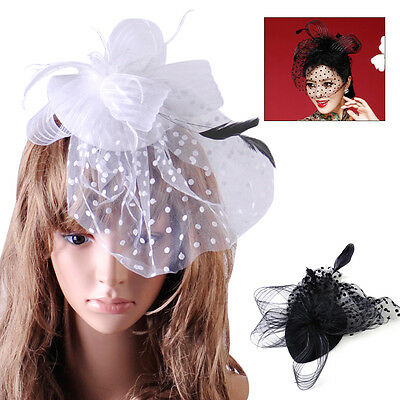 Lady Top Net Mesh Hat Fascinator Hair Clip for Wedding Church Party Veil Feather