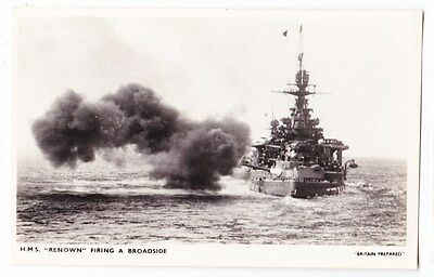 Early Post Card, Ships,   H M S Renown, Firing A Broadside,  RP