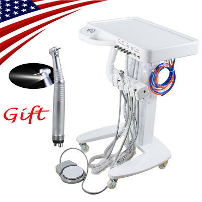 Portable Dental Delivery Mobile Cart Unit Equipment 4 Hole no Compressor +Gift