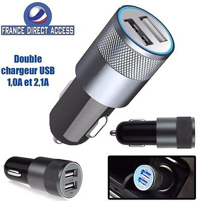 Chargeur voiture USB double 2 ports allume cigare pour Iphone Ipad Samsung