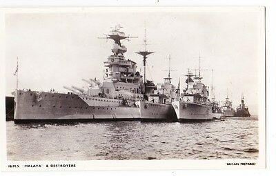 Early Post Card, Ships, H M S Malaya @ Destroyers,  RP