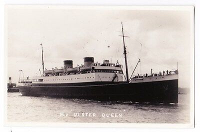 Early Post Card, Ships,  M V Ulster Queen, RP