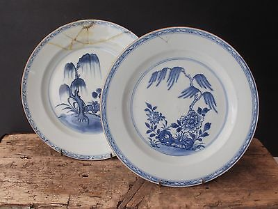 Pair Antique 18Th Century Chinese Plates, Qianlong, Willows, Flowers