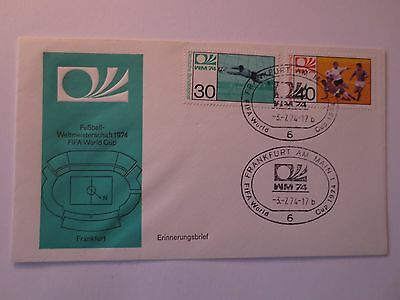 Germany 1974 FIFA World Cup Football Postal Cover & Stamps, Host City Frankfurt
