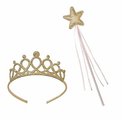 Princess Party Dress Up Tiara Crown Pink Fairy Wand Fancy Dress Outfit Accessory