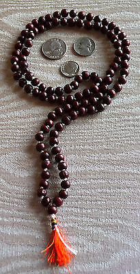 108 Rosewood Red Sandalwood Beads Prayer Japa Mala Hand Knotted Necklace