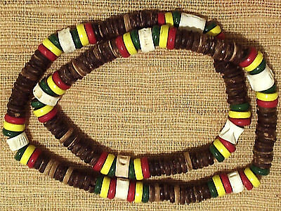 Ethnic tribal rasta colour coco wood and fish bone necklace N0332